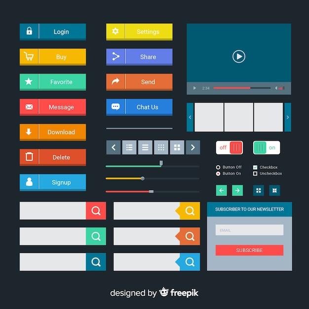 Colección botones diseño web vector gratuito