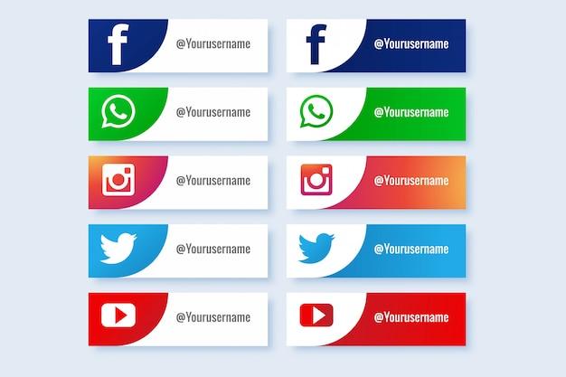 Colección de botones de iconos populares abstractos de redes sociales vector gratuito