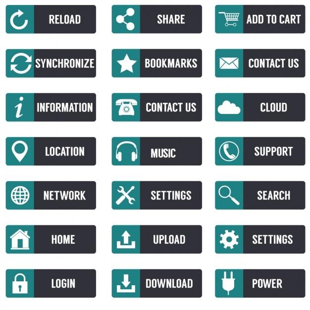Colección de botones multimedia vector gratuito