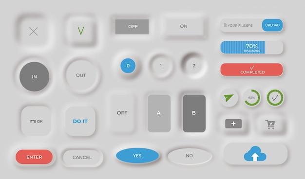 Colección de botones neumórficos vector gratuito