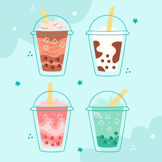 Colección bubble tea dibujada a mano vector gratuito