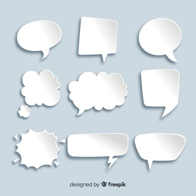 Colección de burbujas de chat planas en papel vector gratuito