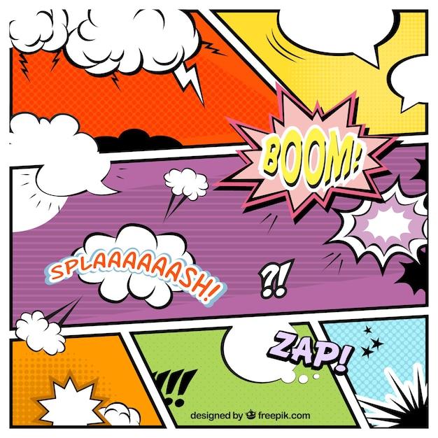 Pack De Viñetas De Comic De Colores Con Globos De Diálogo