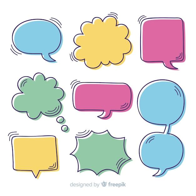 Colección de burbujas de discurso colorido dibujado a mano vector gratuito