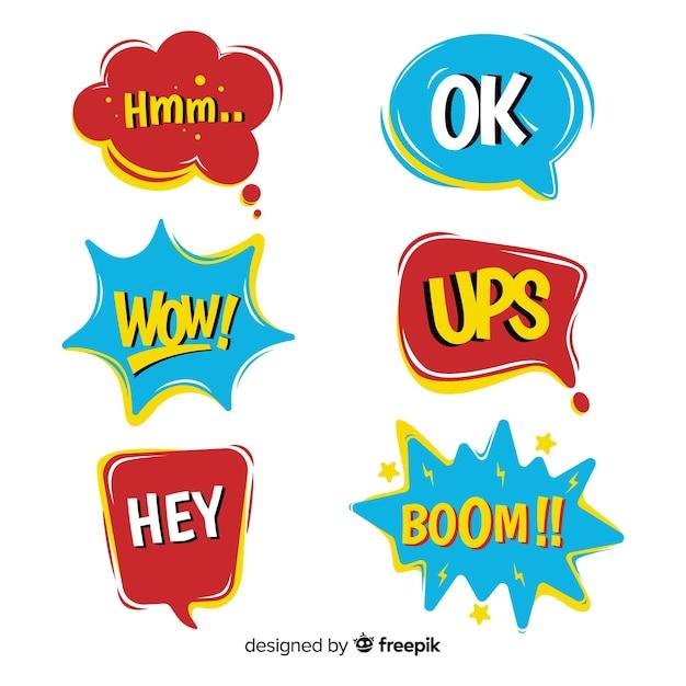 Colección de burbujas de discurso cómico en rojo y azul vector gratuito