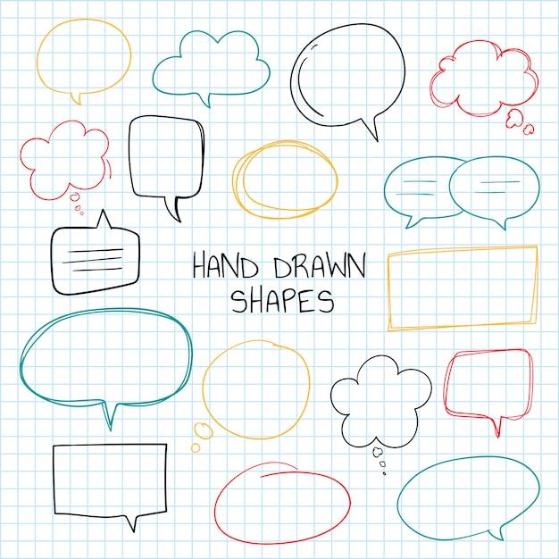 Colección de burbujas de discurso dibujados a mano vector gratuito