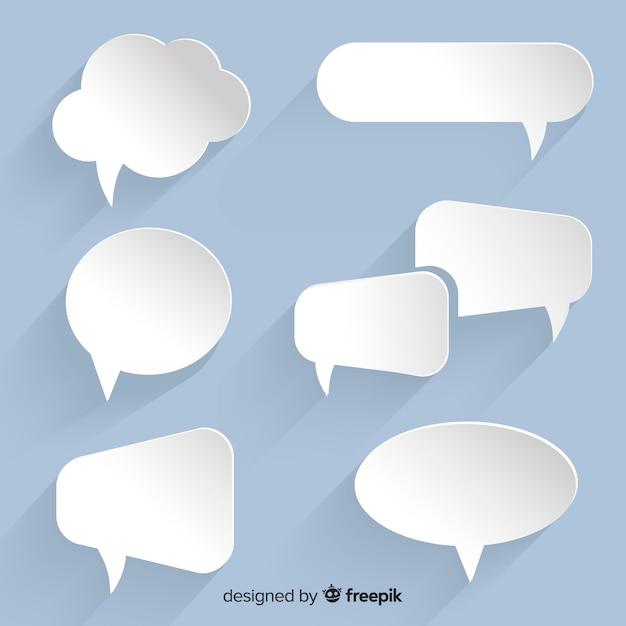 Colección de burbujas de discurso plano en papel Vector Premium