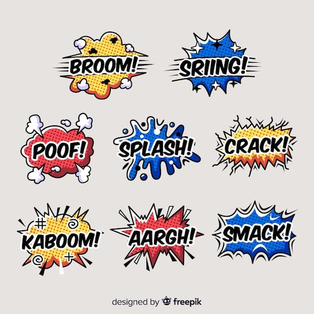 Colección de burbujas de texto de comic vector gratuito