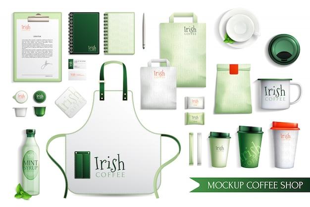 Colección de café irlandés merch vector gratuito