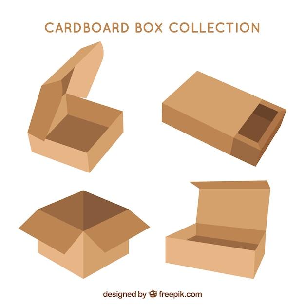 Colección De Cajas De Cartón Para Envío En Estilo Plano Descargar
