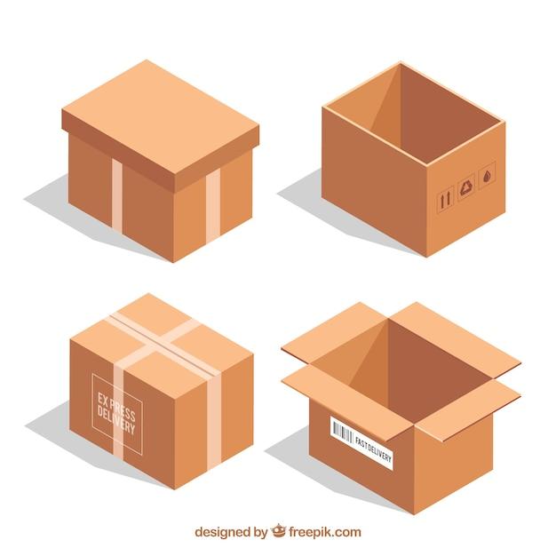 Colección De Cajas De Cartón Para Envío En Estilo Realista