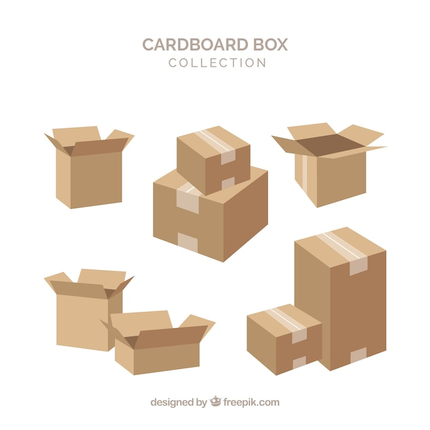 Colección de cajas de cartón para envío vector gratuito