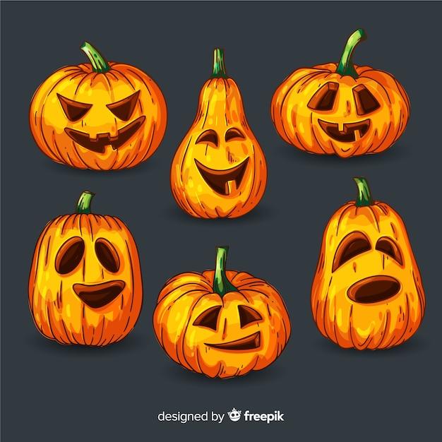 Colección De Calabaza De Halloween De Diseño Plano Vector Gratis
