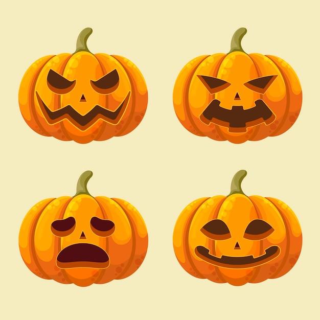 Colección de calabazas del festival de halloween vector gratuito
