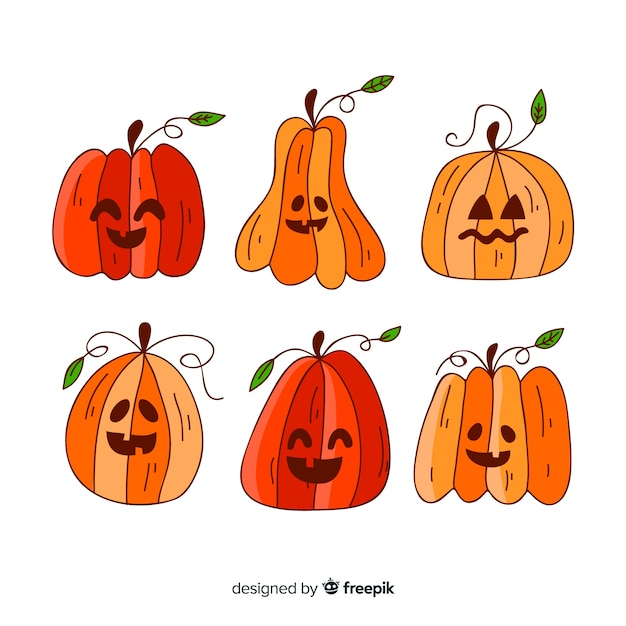 Colección de calabazas de halloween dibujadas a mano vector gratuito