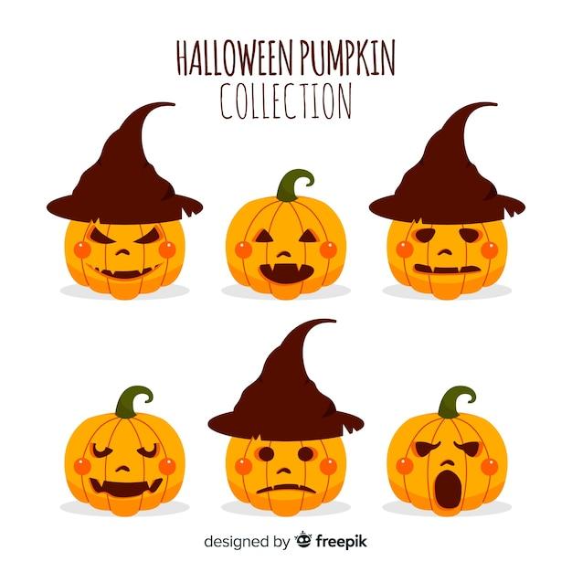 Colección de calabazas de halloween en diseño plano | Descargar ...