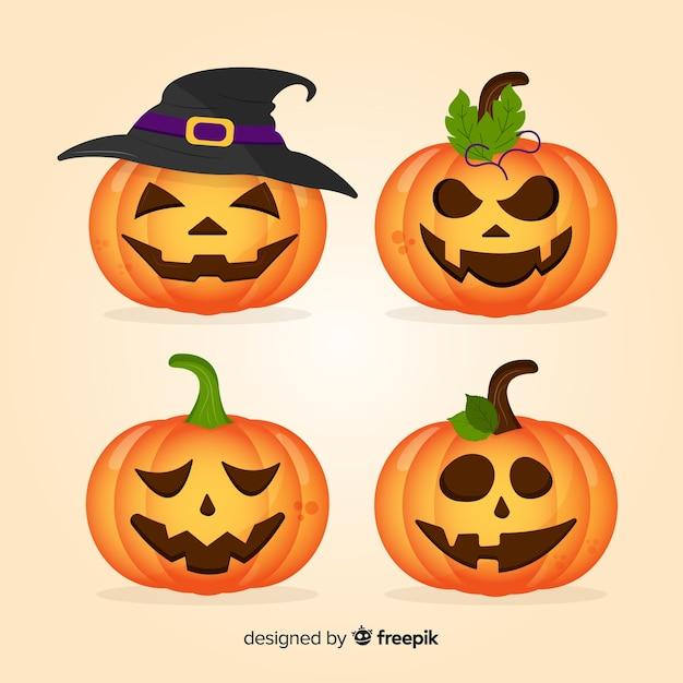 Colección de calabazas de halloween en diseño plano vector gratuito