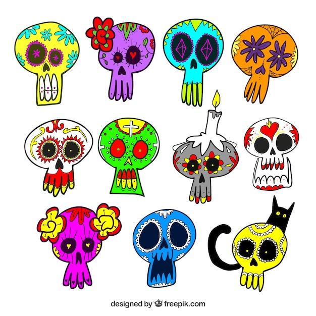 Colección De Calaveras Mexicanas De Colores Dibujadas A Mano