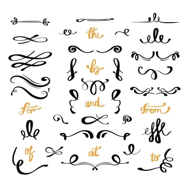 Colección caligráfica de adornos de boda vector gratuito