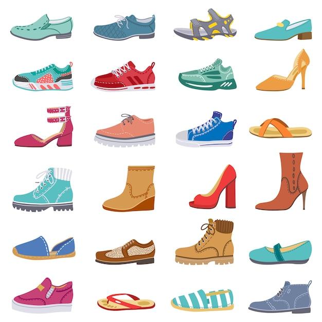 Colección de calzado. zapatos masculinos y femeninos, zapatillas y botas, invierno de moda, zapatos de primavera, conjunto de iconos de ilustración de calzado elegante. calzado femenino y zapatillas de deporte, calzado de moda Vector Premium