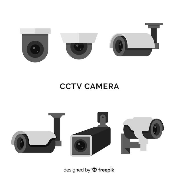 Colección de cámaras de seguridad con diseño plano vector gratuito
