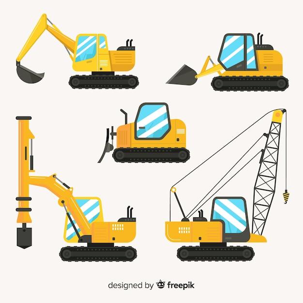 Colección camiones de construcción planos vector gratuito