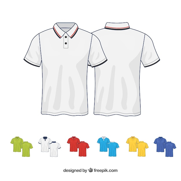 Colección de camisetas de diferentes colores en 2d vector gratuito