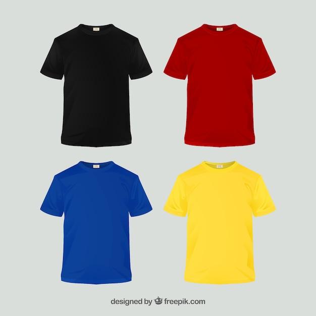 Colección de camisetas de diferentes colores en 2d Vector Premium