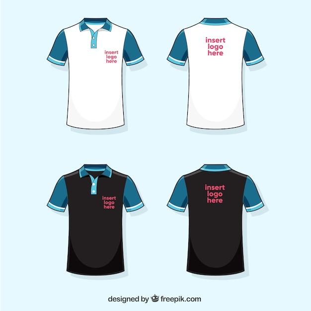 Colección de camisetas de polo blanca, azul y negra vector gratuito