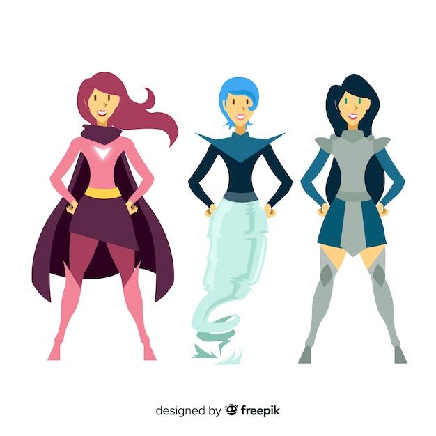 Colección de caracteres femeninos de superheroes en estilo de comic vector gratuito