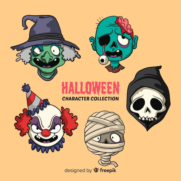 Colección de caracteres de halloween vector gratuito