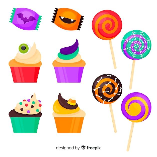 Colección de caramelos de halloween en diseño plano vector gratuito