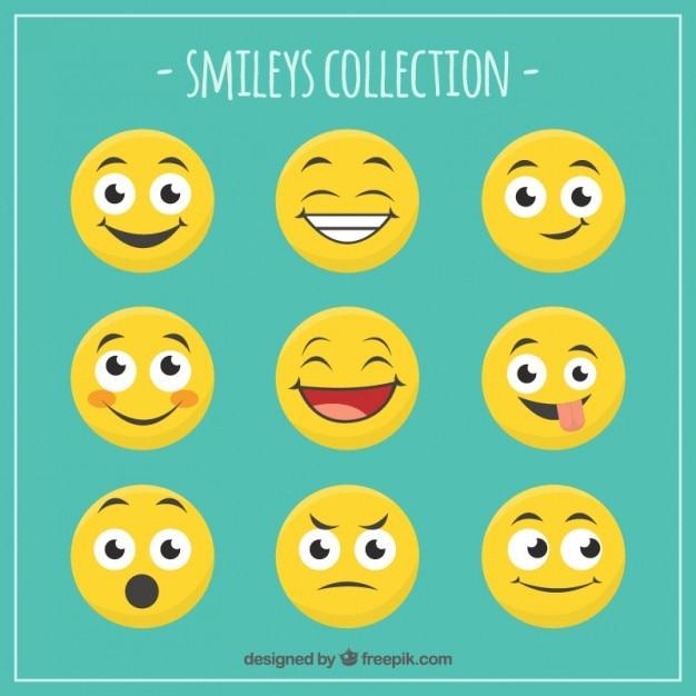 Colección de caras divertidas sonrientes Vector Premium