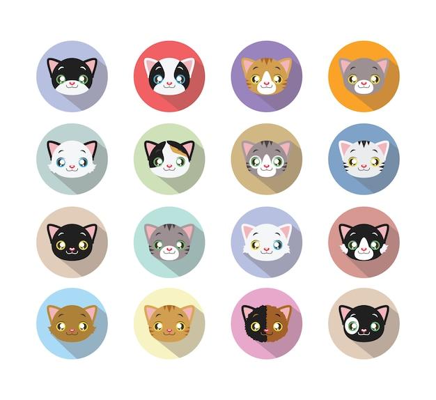 Colección de caras de gatos vector gratuito