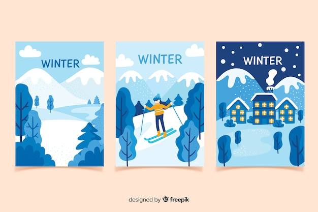 Colección de carteles de invierno dibujados a mano vector gratuito