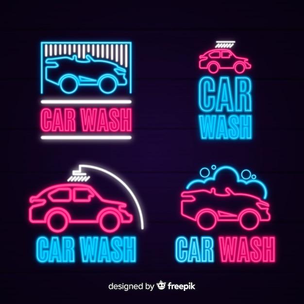 Colección carteles neón lavado de coches vector gratuito