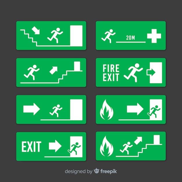 Colección de carteles de salida en diseño flat vector gratuito
