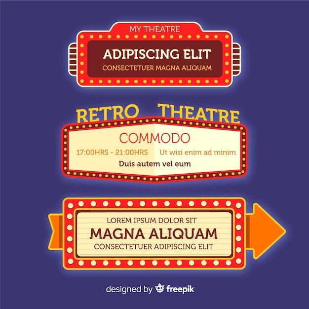Colección de carteles de teatro retro plana vector gratuito