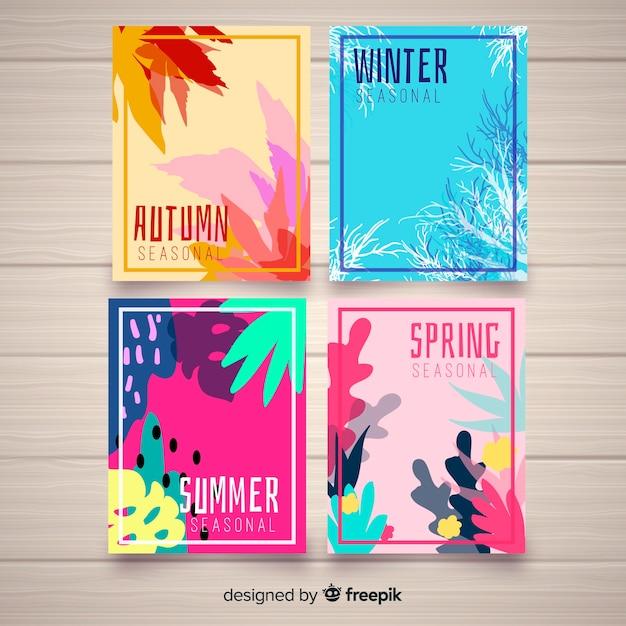 Colección de carteles de temporada dibujados a mano. vector gratuito