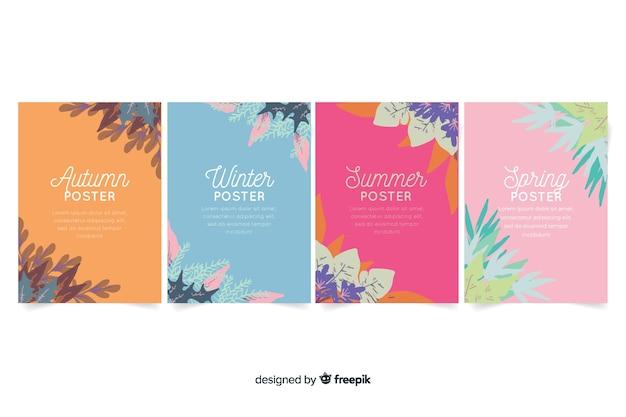Colección de carteles de temporada en estilo de acuarela vector gratuito