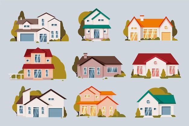 Colección de casas de diseño plano vector gratuito