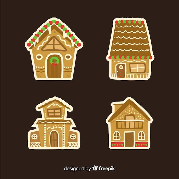 Colección de casas de galleta de jengibre vector gratuito
