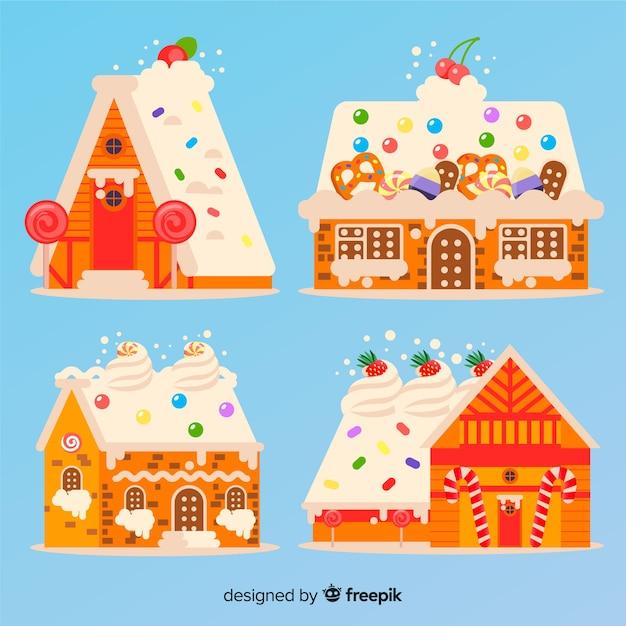 Colección casas pan de jengibre colorida vector gratuito