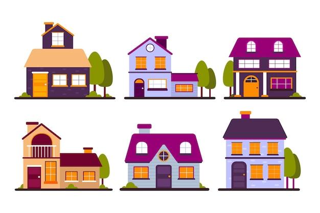Colección de casas urbanas de colores con árboles. vector gratuito