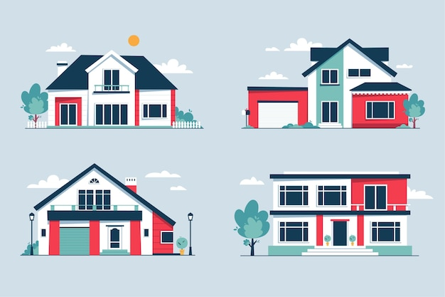 Colección de casas urbanas modernas de vista frontal vector gratuito