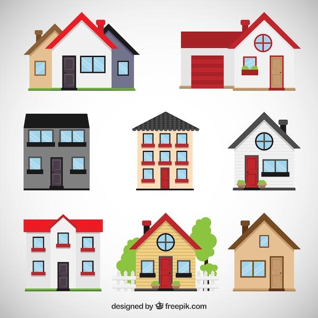 Colección casas vector gratuito
