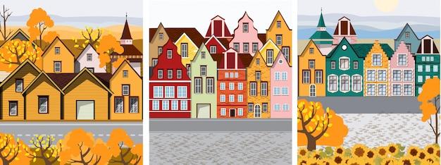 Colección del casco antiguo retro con coloridos edificios Vector Premium