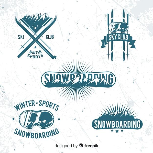 Colección de chapas de esquí/snow vector gratuito
