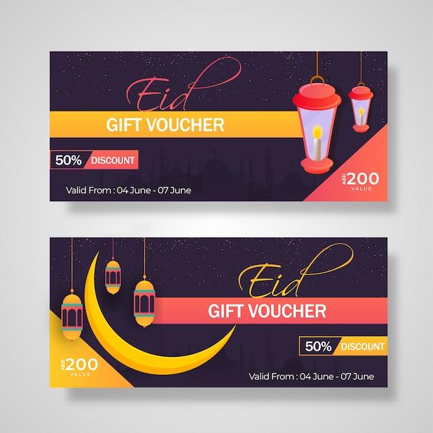 Colección de cheques regalo con diferentes ofertas de descuento para eid ce. Vector Premium