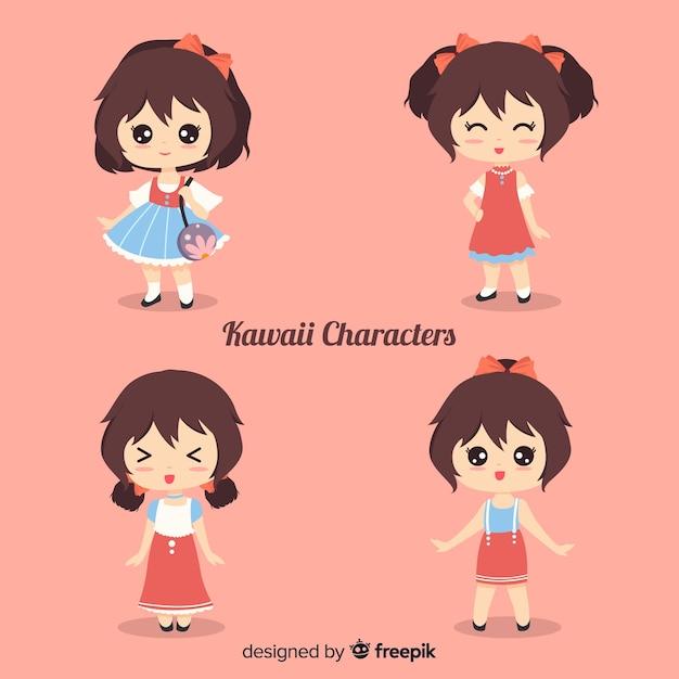 Colección chicas kawaii sonriente dibujado a mano vector gratuito